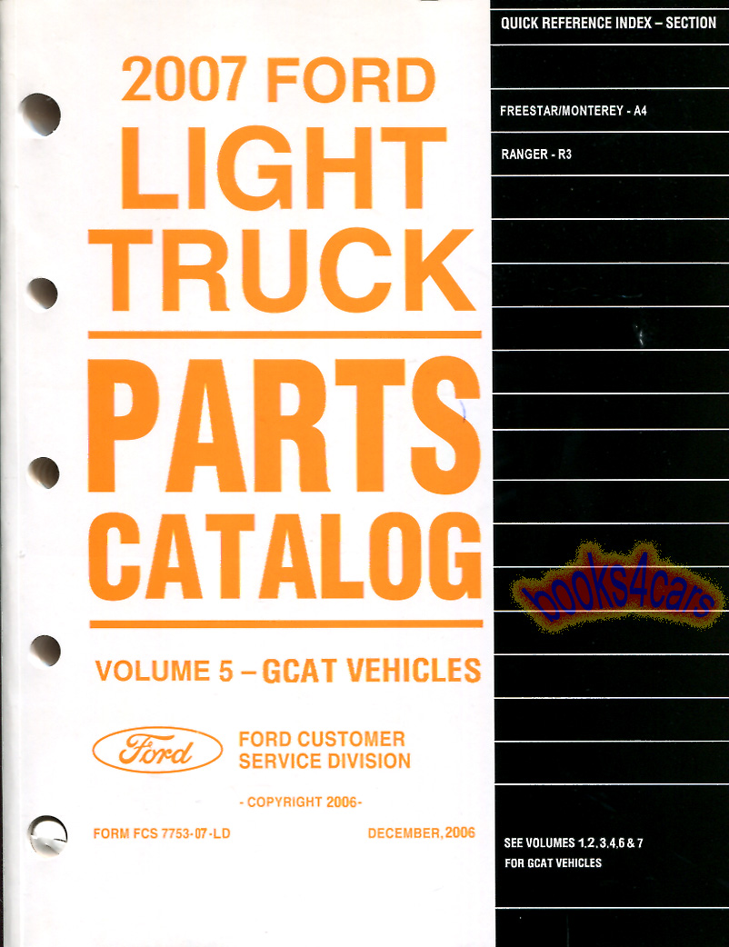 REAL HUGE HEAVY BOOK over 1,000 pages Illustrated Parts Manual by Ford  picturing every single part with its respective part number that make up  the 2007 ...