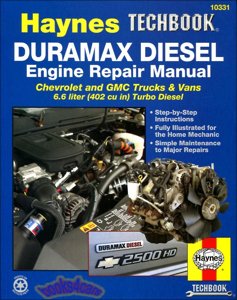 REAL BOOK Shop Service Repair Manual Book for 6.6L Duramax Turbo Diesel V8  Engines as used in 2001-2012 Chevrolet & GMC Trucks including Silverado  Sierra HD ...