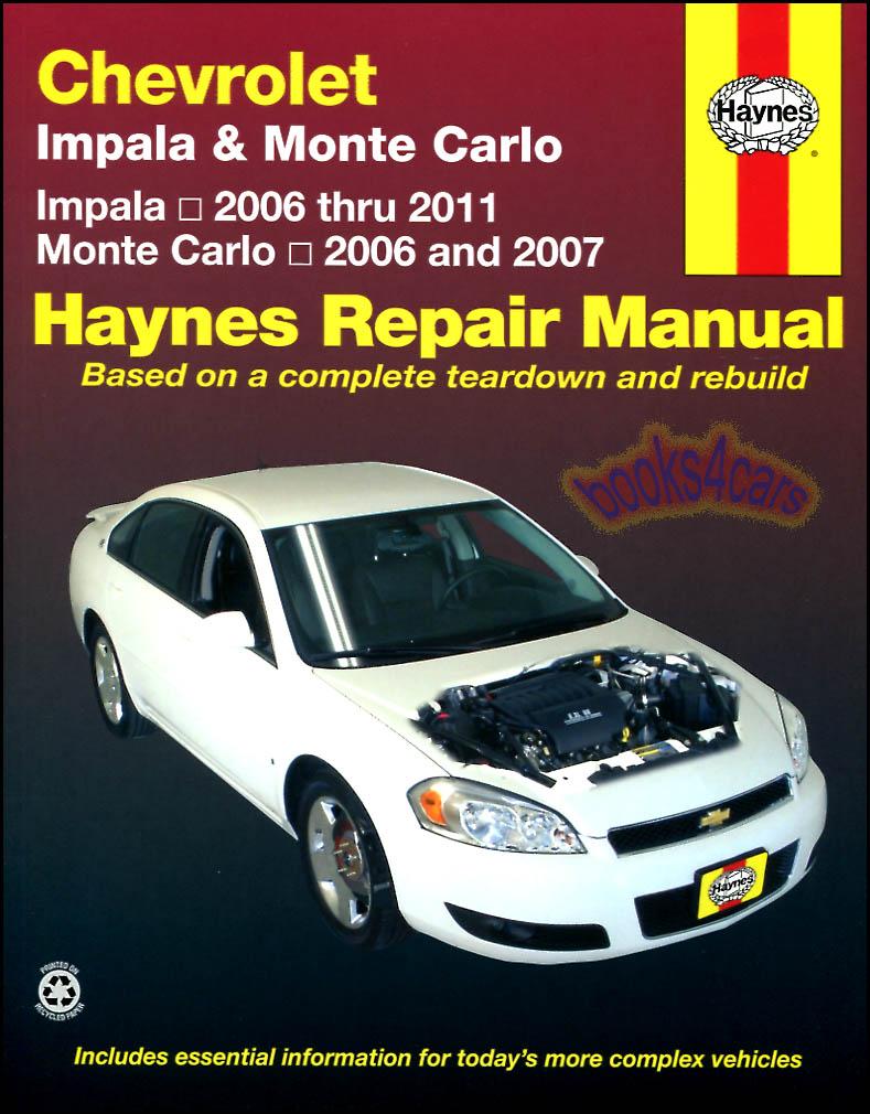 Shop Manual Impala Service Repair Monte Carlo Haynes Book