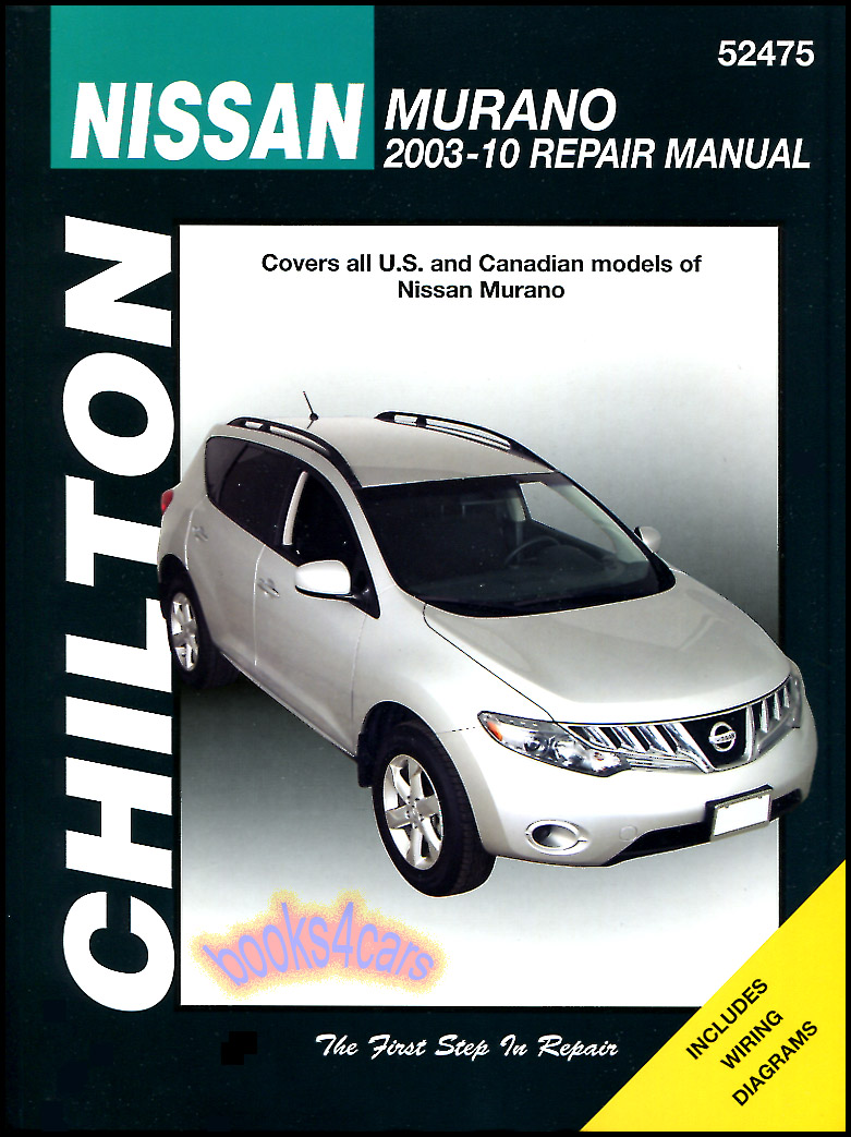 REAL BOOK over 300 page Bumper to Bumper Shop Service Repair Manual for all  versions of 2003-2010 Nissan Murano with Repair Procedures for Engine ...