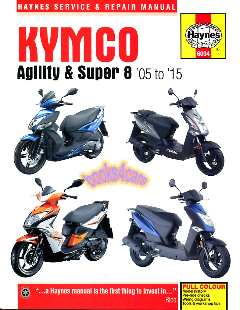 REAL BOOK over 200 pages Shop Service Repair Manual for all 2005-2015 Kymco  Agility & Super 8 motorscooters. This book covers both 2 & 4 stroke engines.